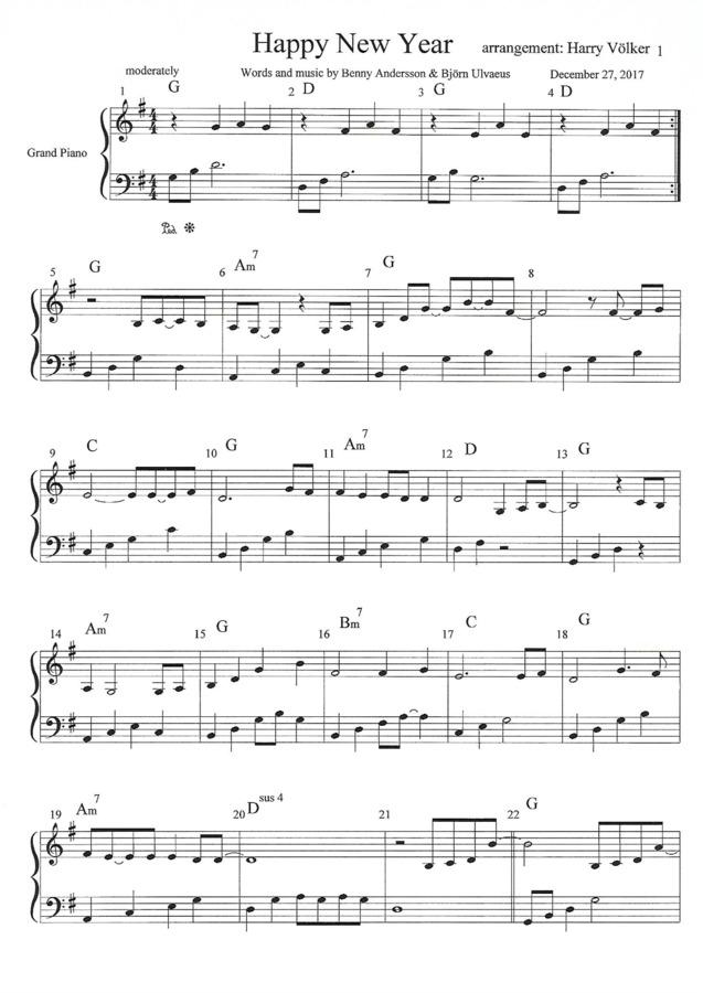 Harry Vlker Happy New Year Abba Easy Arrangement Chord Symbols