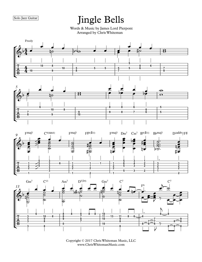 Chris Whiteman Music Jingle Bells Jazz Guitar Chord Melody
