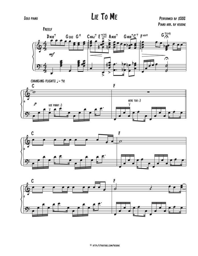 Lie To Me Piano 5sos