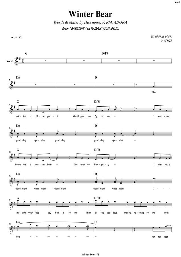 bandscore winter bear v of bts vocal bass drums guitar synth strings mr