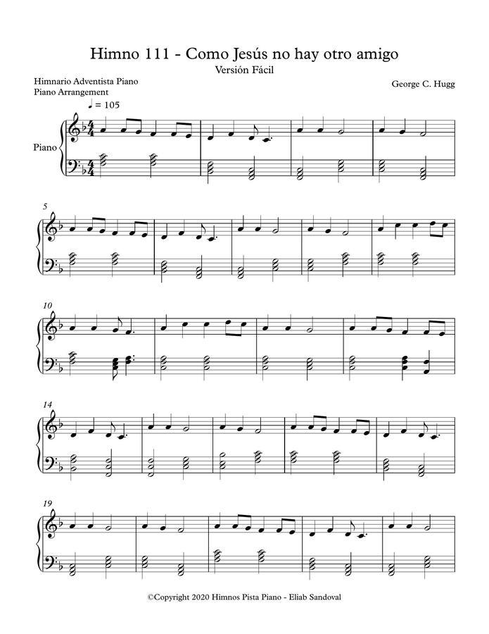 Himnos Pista Piano Himnario Adventista Como Jesus No Hay Otro Amigo Facil Himno 111 By Himnos Pista Piano