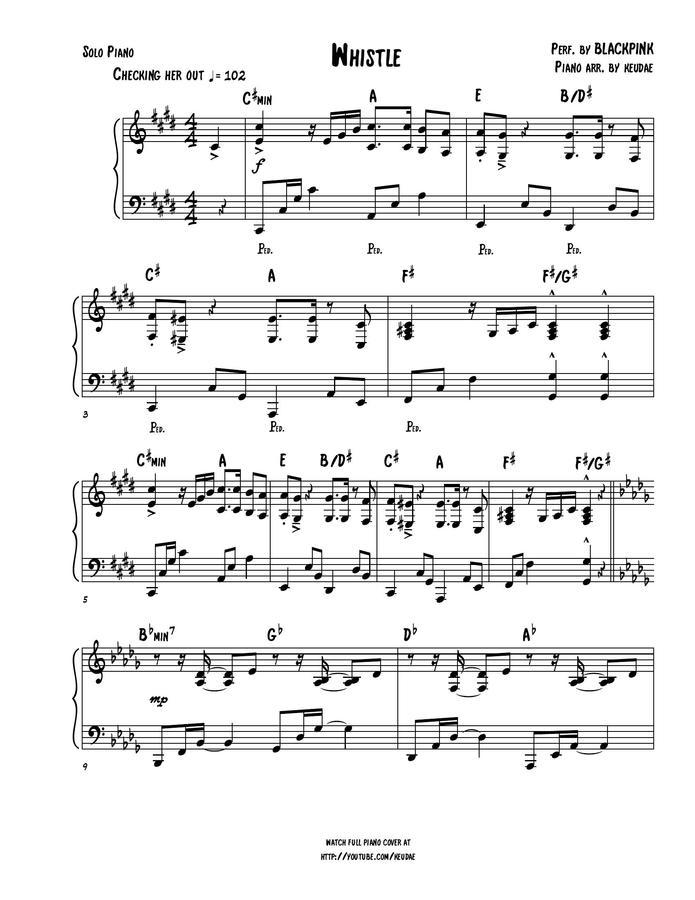 keudae > BLACKPINK - WHISTLE (piano solo)