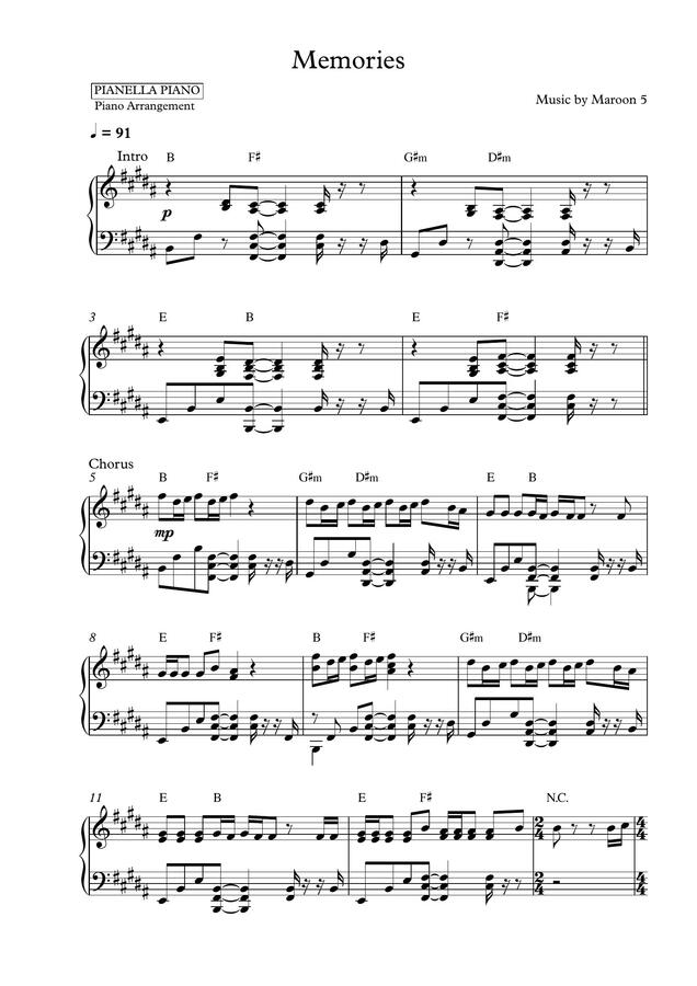 Pianella Piano Maroon 5 Memories Piano Sheet By Pianella Piano