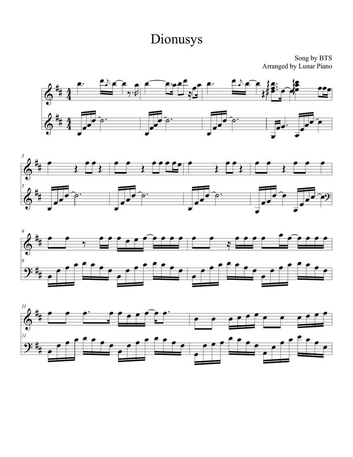 Bts Piano Sheet Music Hard
