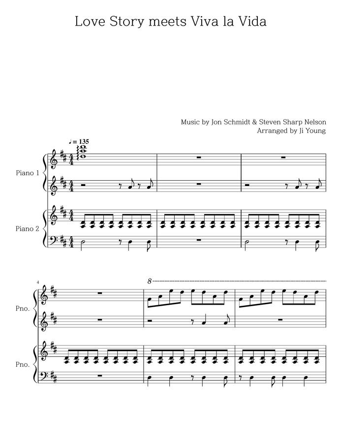 Polypiano Jon Schmidt Love Story Meets Viva La Vida Piano 4 Hands By Jiyoung
