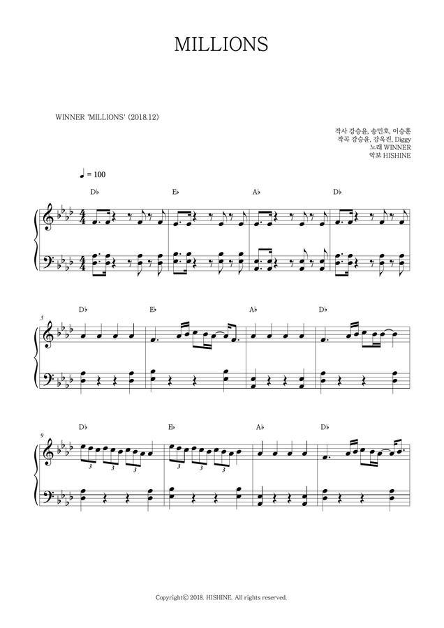 HISHINE > WINNER - MILLIONS little easy piano sheet